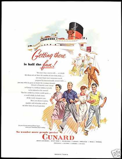 Cunard Line Cruise Ship Deck Getting There (1953)