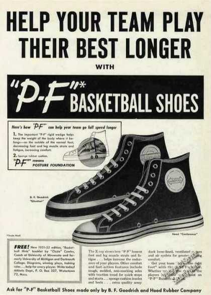 """P-f"" Basketball Shoes ""Play Their Best Longer"" (1951)"