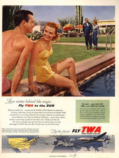 Trans World Airlines – Leave winter behind like magic... Fly TWA to the SUN (1954)