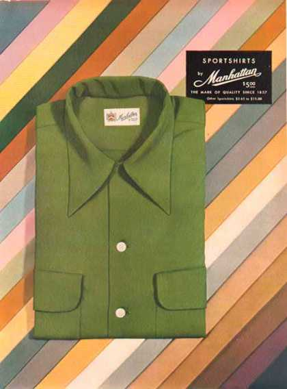 Manhattan Sport Shirts – Green shirt with price – Sold (1949)