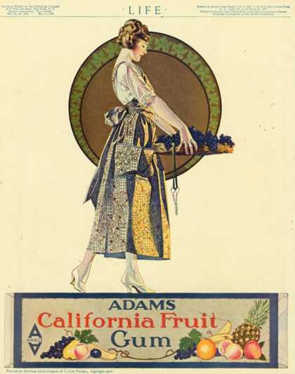 Adams California Fruit Gum, Chewing Gum Sweets Coles Phillips, USA (1920)