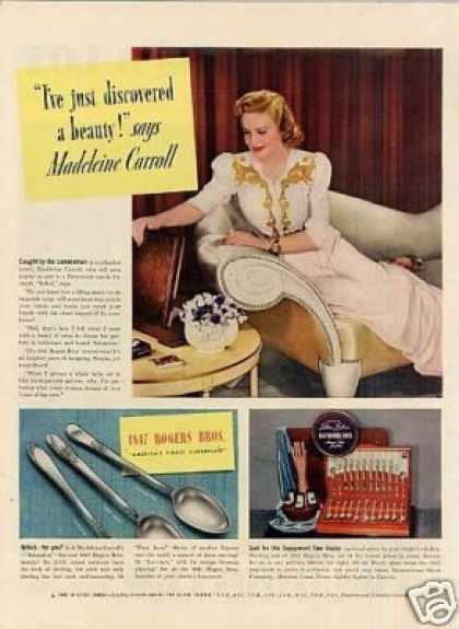 1940-1847 Rogers Bros. Silverplate Ad Madeleine Carroll