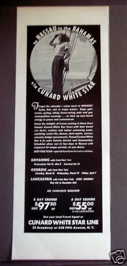 Cunard White Star Cruise Bahamas Travel (1939)