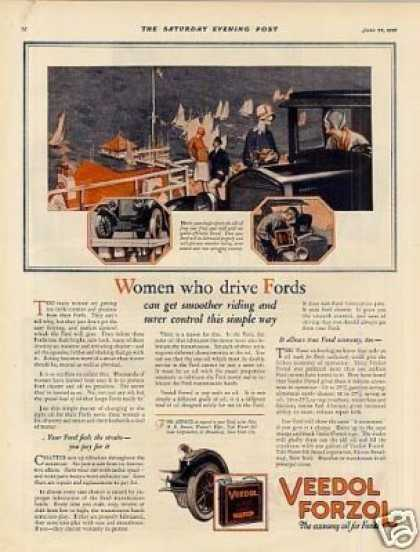 "Veedol Oil Color Ad ""Women Who Drive Fords... (1926)"