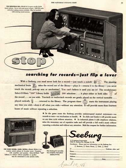 J.P. Seeburg Corporation's Seeburg (various models) – Stop searching for records- just flip a lever (1948)