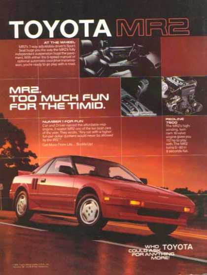Toyota MR2 Car – Too Much Fun For The Timid (1986)