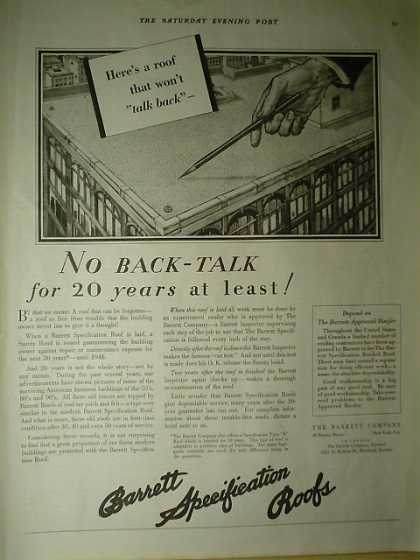 Barrett Specification Roofs No back talk for 20 years (1928)