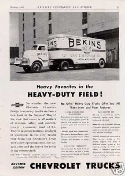 Chevrolet Truck Ad Bekins Moving Co. (1949)