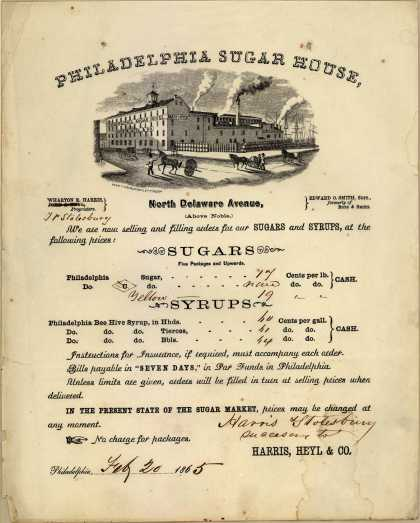 Harris, Stolesbury Co.'s Sugars and Syrups – Philadelphia Sugar House (1865)