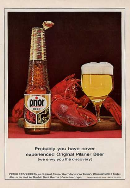 Prior Beer Pilsner Bottle Glass Lobster (1964)