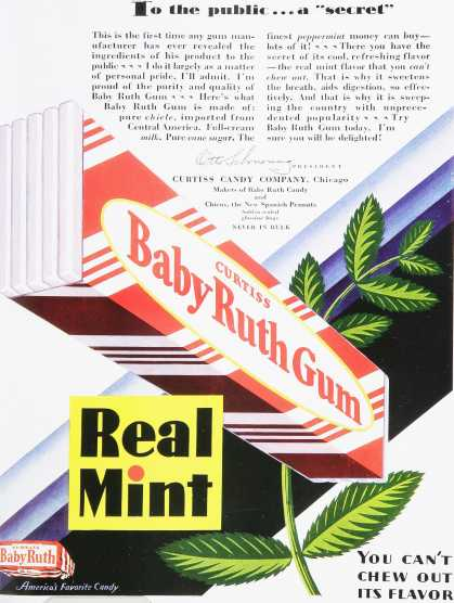 Curtiss Baby Ruth Gum Real Mint