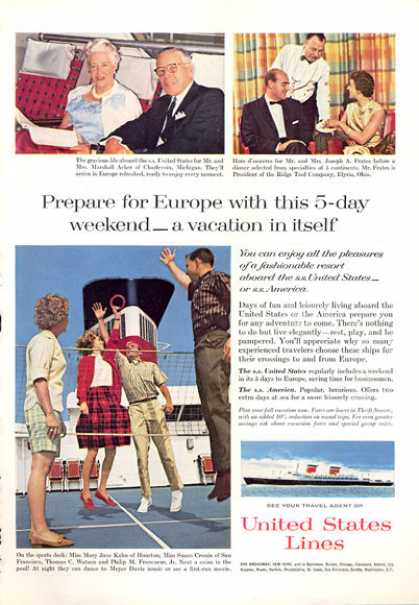 United States Cruise Line Ship Sports Deck (1963)