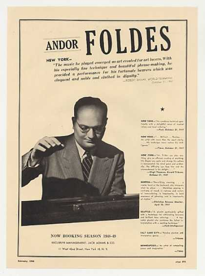 Pianist Andor Foldes Photo Booking (1948)