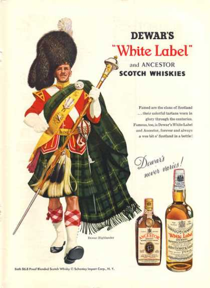 Dewar White Label Whisky Scottish Highlander (1957)