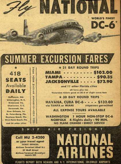 National Airline's Summer Excursion Fares – Fly National (1949)