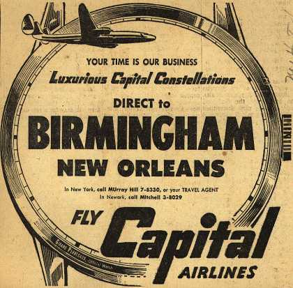Capital Airline's Direct Flights – Luxurious Capital Constellations Direct to Birmingham, New Orleans (1953)