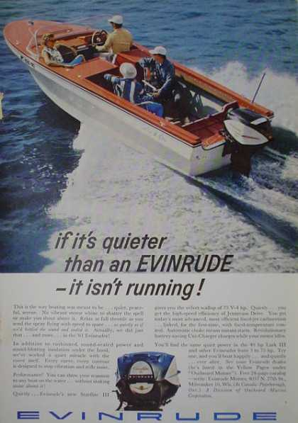 Evinrude motor Boat engine outboard Quieter (1961)