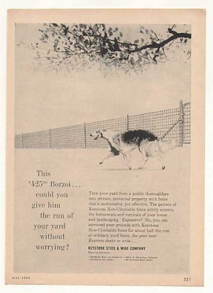Borzoi Dog Keystone Steel Wire Fence (1961)