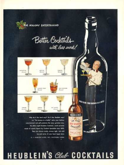Heublein Club Cocktails Martini Bottle (1948)