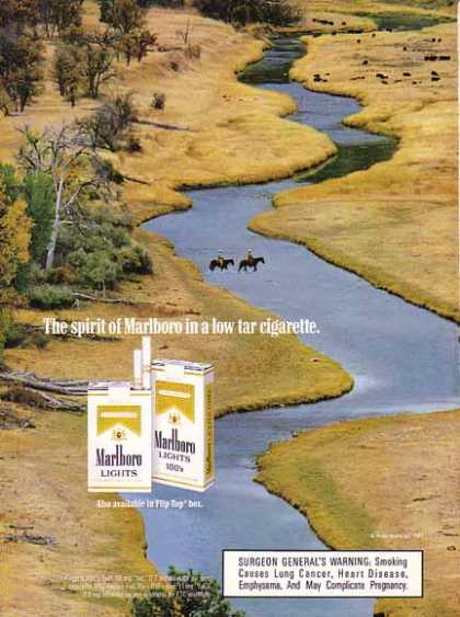 Marlboro Cigarettes – Cowboys cross the stream. (1987)