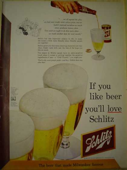 Schlitz Beer If you like beer, you'll love Schlitz (1952)