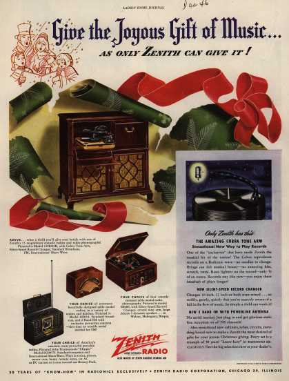 Zenith Radio Corporation's various – Give the Joyous Gift of Music...as only Zenith can give it (1946)