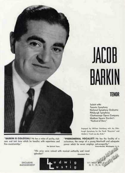 Jacob Barkin Photo Tenor Rare Booking (1963)