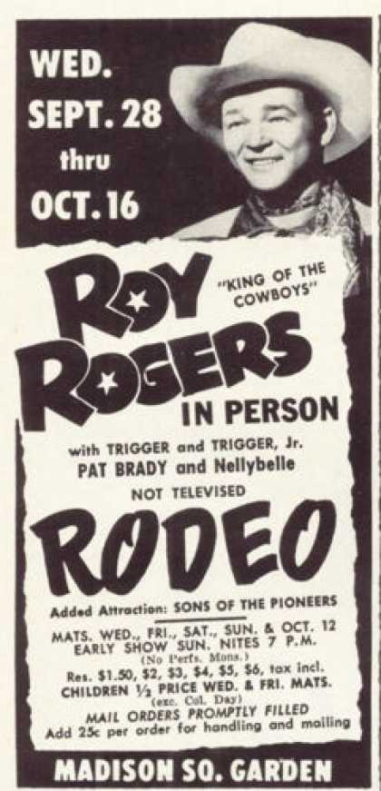 Madison Garden Ad King of Cowboy Roy Rogers Rodeo (1955)