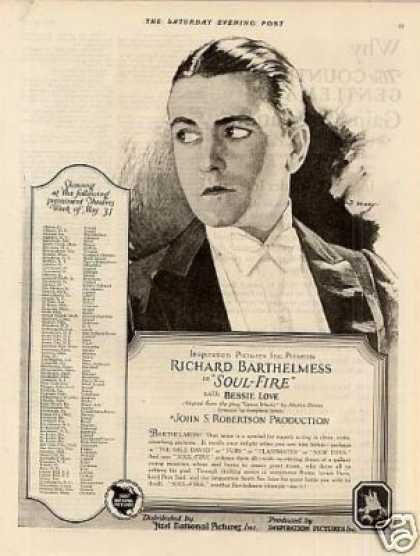 "First National Pictures Ad ""Soul-fire"" (1925)"