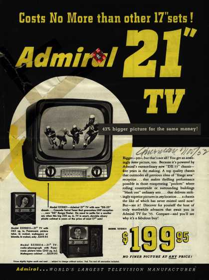 "Admiral Corporation's Television – Costs No More Than Other 17"" Sets! Admiral 21"" TV (1952)"