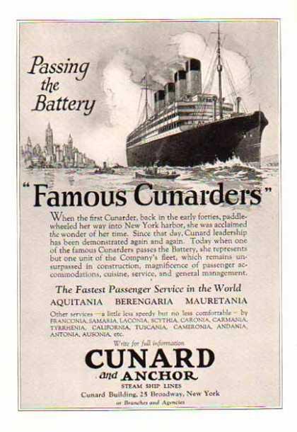 Cunard and Anchor Steam Ship Lines Cruise – NY Harbor (1924)