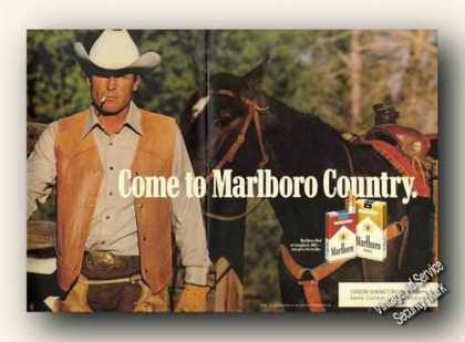 Marlboro Standing Cowboy With Horse Centerfold (1988)