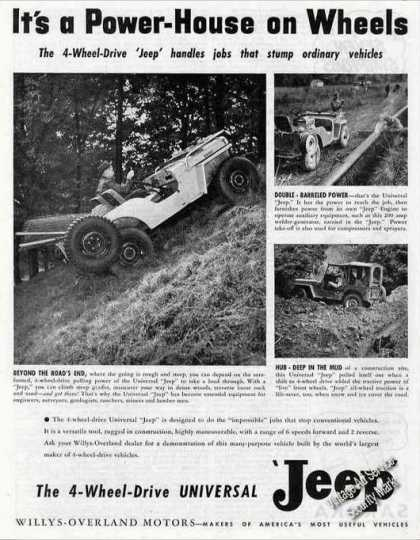 "Willys Jeep Photos ""Power House On Wheels"" (1947)"