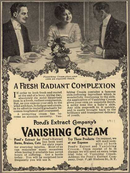 Pond's Extract Co.'s Pond's Vanishing Cream – A Fresh Radiant Complexion (1911)