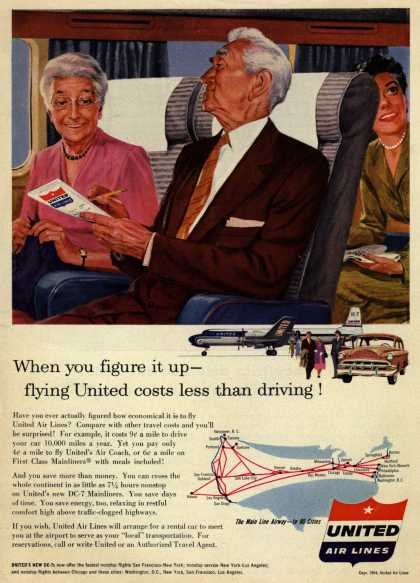 United Air Lines – When you figure it up – flying United costs less than driving (1954)