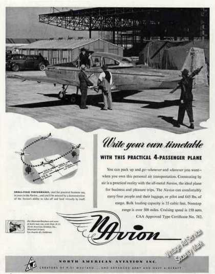 Navion Private Airplane Photo Collectible (1947)