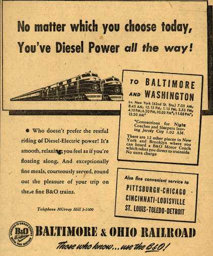 Baltimore & Ohio Railroad's Diesel-Electric power – No matter which you choose today, You've Diesel Power all the way (1948)
