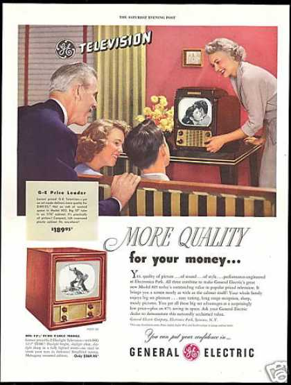 GE TV Television More Quality Vintage Photo (1949)