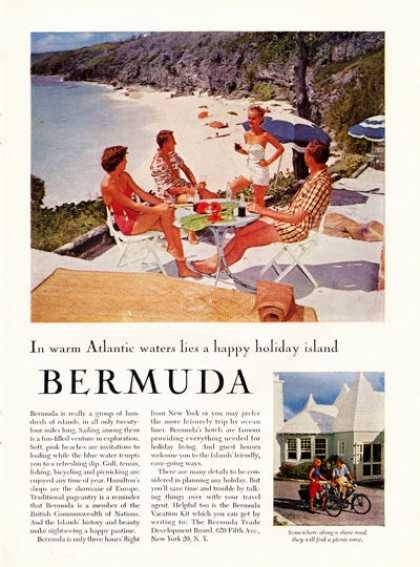 Bermuda Travel Dining Along Beach Bike Tour (1957)