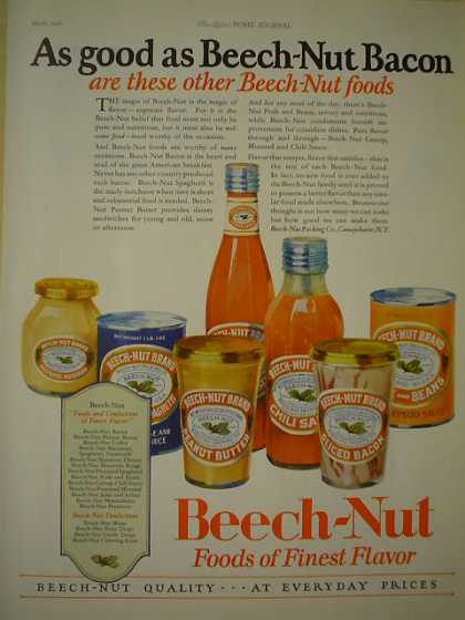 Beech Nut Food Bacon Beans Chili AND Wesson Oil (1926)
