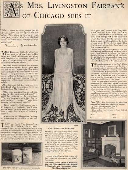 Pond's Extract Co.'s Pond's Cold Cream and Vanishing Cream – As Mrs. Livingston Fairbank Of Chicago Sees It (1925)
