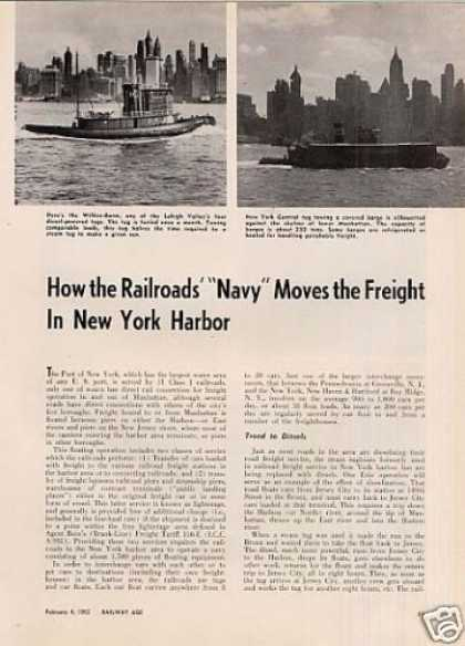 """Railroads' Navy Moves the Freight In Ny"" Article (1952)"
