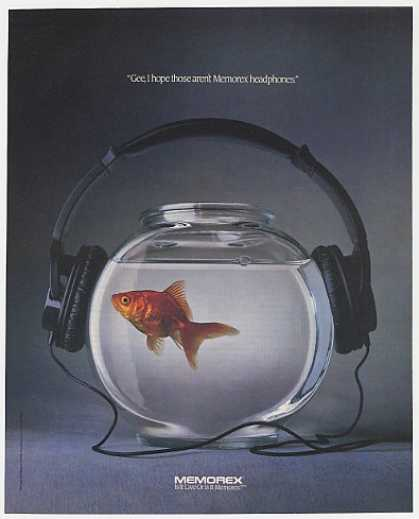 Memorex Headphones on Goldfish Bowl Photo (1990)
