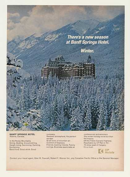 Banff Springs Hotel Alberta Canada Winter Photo (1969)