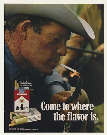 Marlboro Cowboy Man Lights Cigarette with Stick (1971)