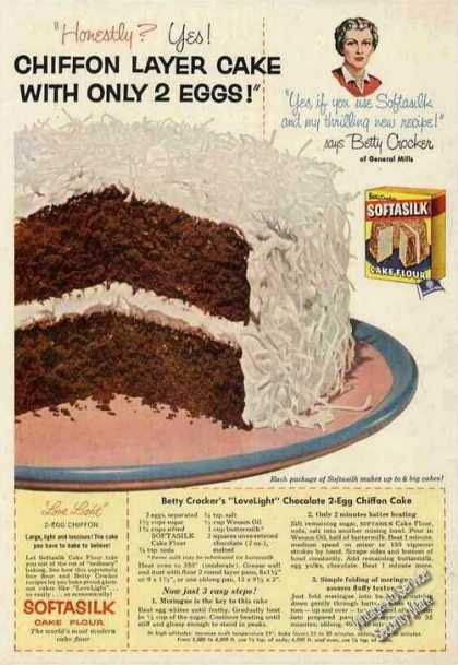 Betty Crocker Chiffon Cake Recipe Softasilk (1954)