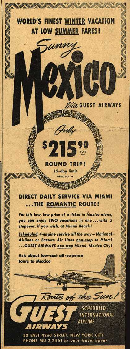 Guest Airway's Mexico – World's Finest Winter Vacation At Low Summer Fares (1951)