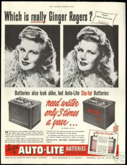 Ginger Rogers Photo Auto Lite Battery Vintage (1948)