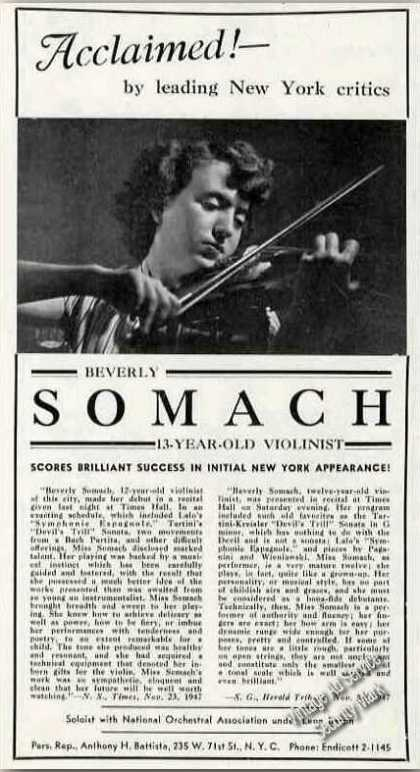 Beverly Somach Photo 13 Yr Old Violinist Trade (1948)