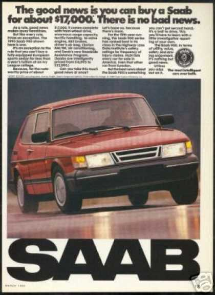 Saab 900 Red 2 Dr Vintage Photo Car (1990)